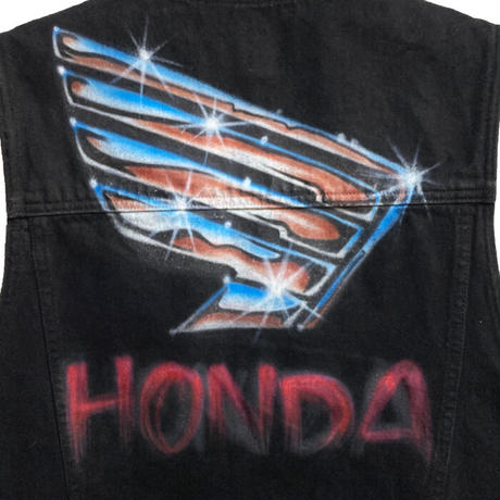 【USED】90'S CK CALVIN KLEIN JEANS HONDA AIR BRUSHED BLACK DENIM VEST