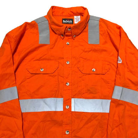 【USED】OVERSIZED SAFETY REFLECTIVE WORK SHIRT ORANGE