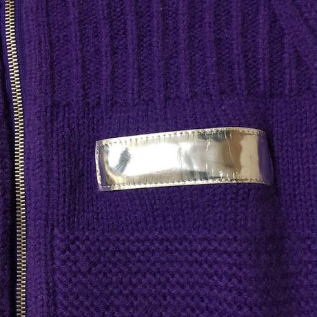 【USED】90'S W&LT SILVER PATCH ZIP KNIT PURPLE