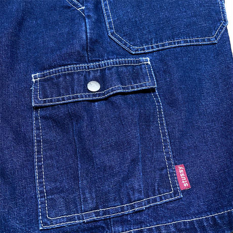 【USED】90'S STUSSY DENIM CARGO SHORTS