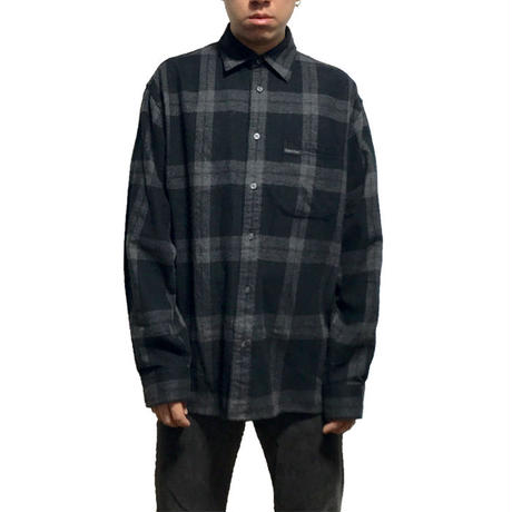【USED】90'S  CALVIN KLEIN CHECK SHIRT BLACK