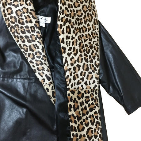 【USED】LEOPARD × BLACK LEATHER COAT MADE IN ITALY