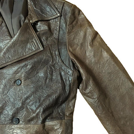 【USED】ITALIAN LEATHER COAT BROWN