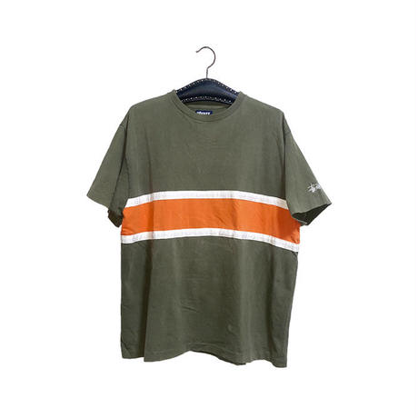 【USED】90'S STUSSY SWITCHING LINE T-SHIRT