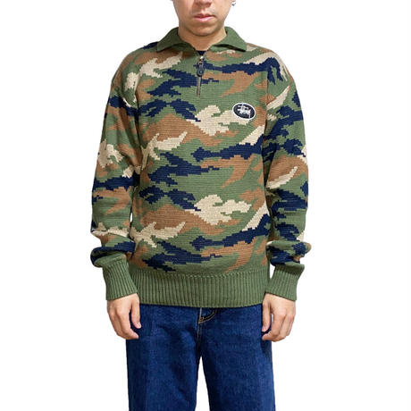 【USED】90'S STUSSY CAMO KNIT SWEATER