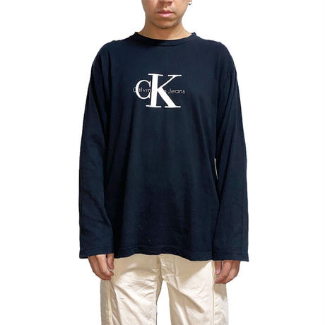 【USED】90'S CALVIN KLEIN L/S T-SHIRT MADE IN USA