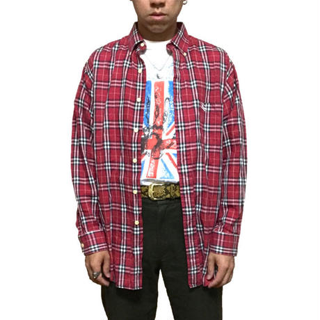 【USED】BURBERRYS RED CHECK B.D SHIRT