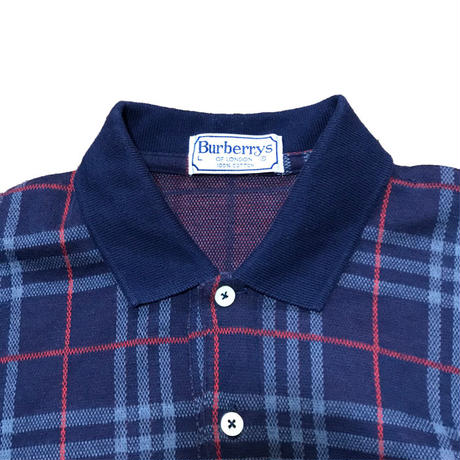 【USED】90'S  BURBERRYS NOVA CHECK POLO SHIRT NAVY