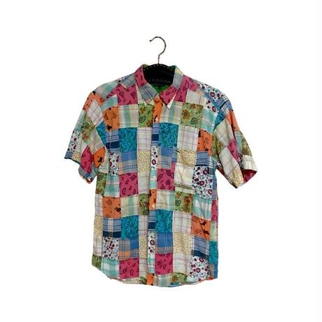 【USED】90'S TOMMY HILFIGER PATCHWORK S/S SHIRT