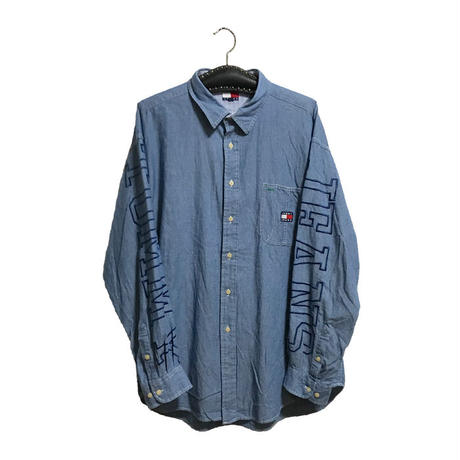 【USED】90'S TOMMY JEANS EMBROIDERED CHAMBRAY SHIRT