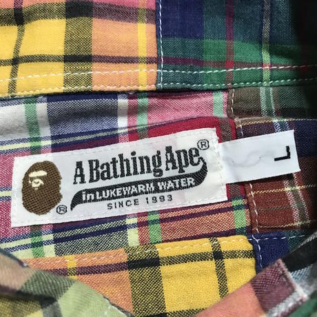 【USED】00'S  A BATHING APE PATCH WORK SHIRT