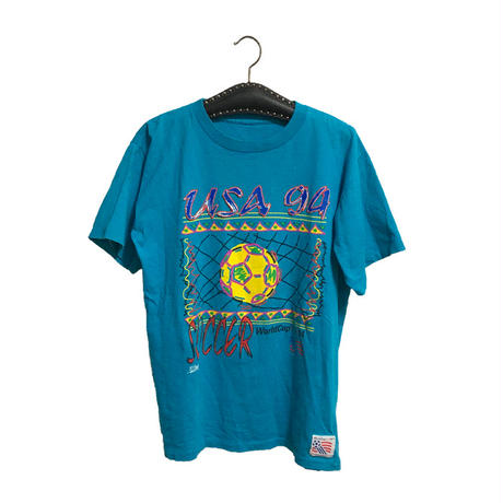 【USED】90'S  SOCCER WORLD CUP 94 T-SHIRT  TURQUOISE BLUE