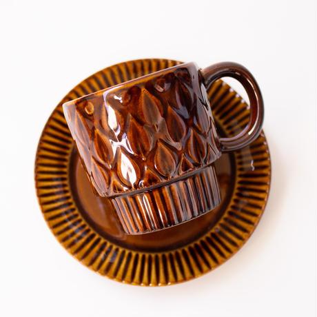 リーフ柄 レリーフ マグカップ 全4色