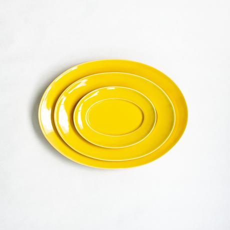 オーバルプレート L      黄(黄交趾釉)