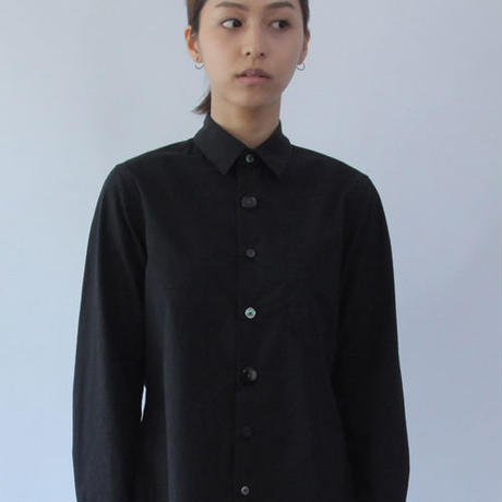 Different Button and Knit Sleeve Black Basic Shirt.(Ladies' SIZE:1)