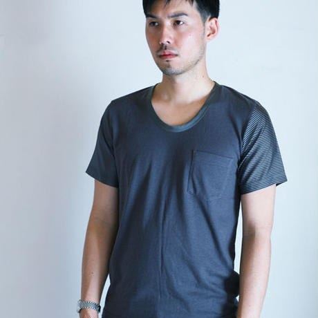 Stripe and Border Sleeve Charcoal Gray T-shirt.(Free  SIZE)
