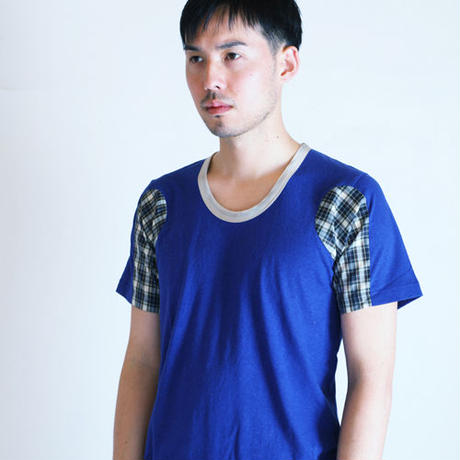 Marine Blue Coloring Changed Different Sleeve T-shirt.(Free  SIZE)