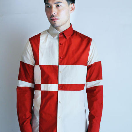 Red and Beige Composition Patchwork Shirt.(Men's SIZE:4)
