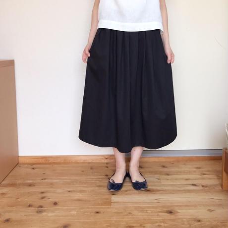 【予約販売】タックフレアースカート ブラック