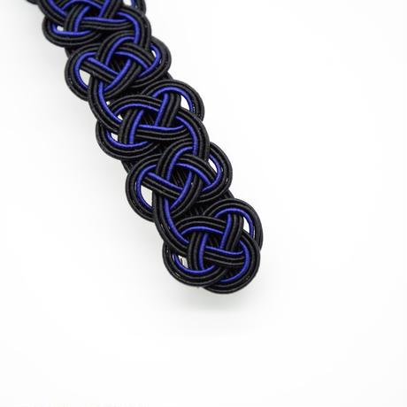 手作りキット「あわじ結びのバレッタ(黒藍)」