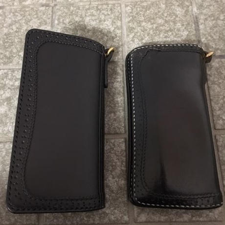 ZOOL LEATHER x KraftyTokyo W-Name SADDLE WALLET BLK/生成り