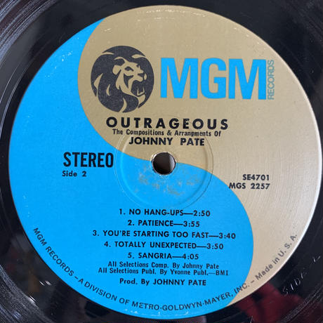 Johnny Pate / Outrageous (LP)