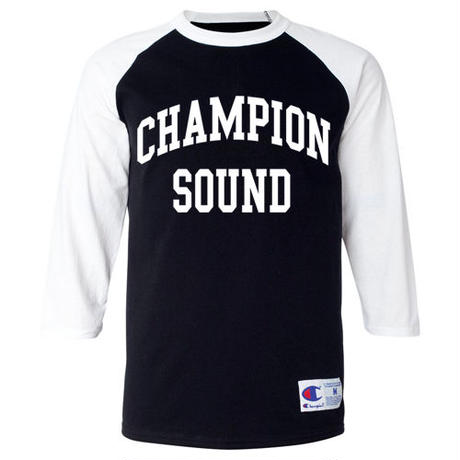 """CHAMPION SOUND"" RAGLAN BASEBALL TEE WHITE"