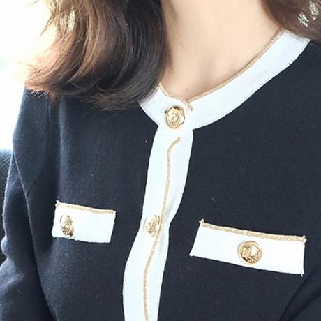 セットアップ ニット 長袖 ワイドパンツ 前ボタン 黒