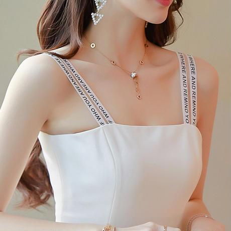 ワンピース パーティドレス 肩紐 アシンメトリ ミニ丈 袖なし 白