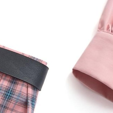 セットアップ シャツワンピース ベルト付 チェック柄プリーツスカート アシンメトリー