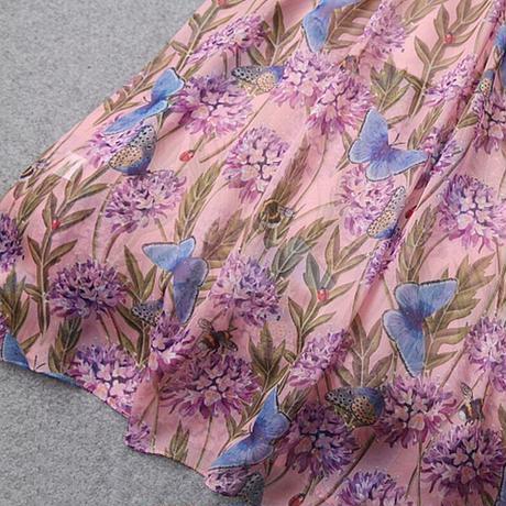 ワンピース ロング丈 花 蝶 フレア 長袖 華やか ピンク