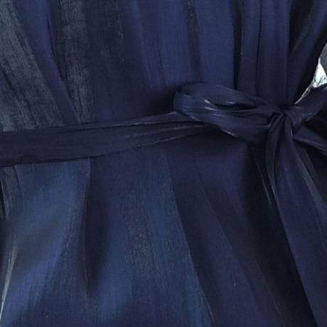ワンピース ミディアム丈 半袖 ウエストマーク 上品 紺