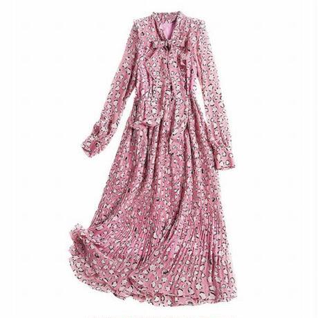 ワンピース ミディアム丈 プリーツ リボンタイ 大人可愛い ピンク