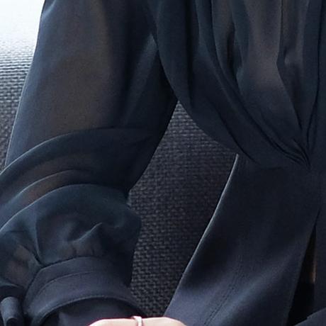 ツーピース 長袖 ペプラム フレアパンツ シック 黒