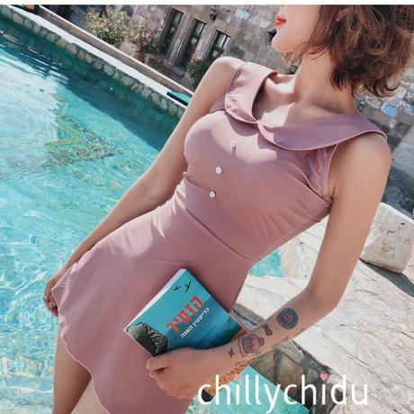 新作 CUTE ワンピース水着 フレアスカート 襟付き ピンク