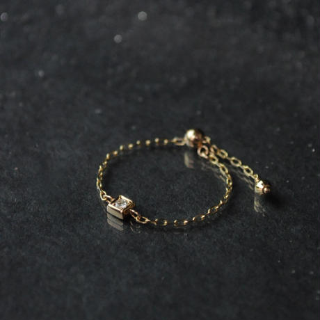 【anq.】K10・ダイヤ スライドチェーンリング