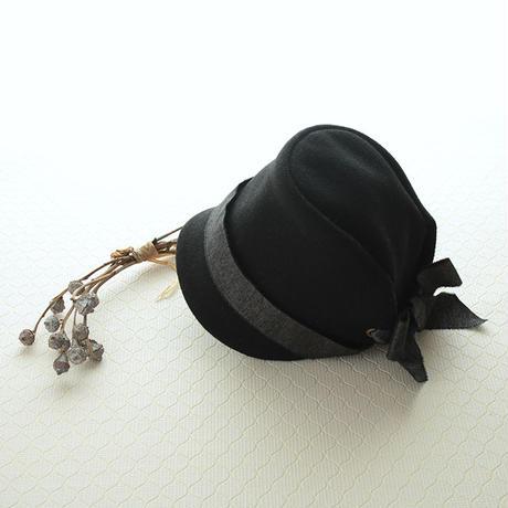ウールメルトン帽子 こども用【ブラック】