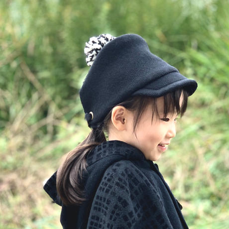 PomPom Wool cap こども用 Kids【 ブラック Black 】