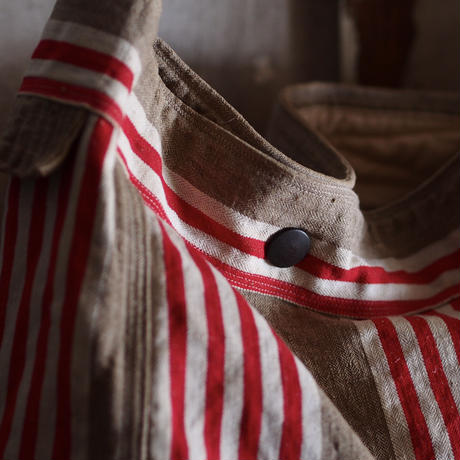 FRENCH VINTAGE  LINEN BAG ~type news paper~