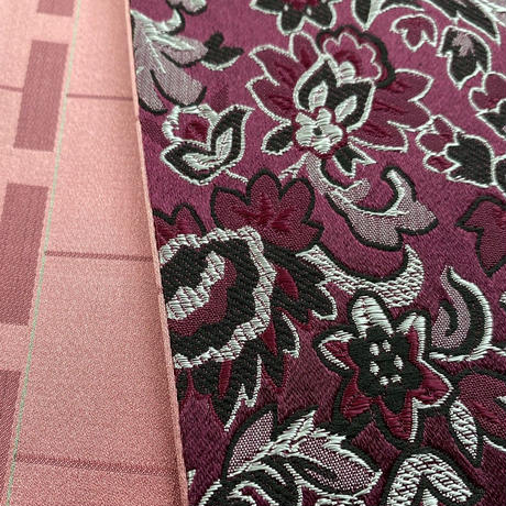 【半幅帯SALE】創作帯いまむら リバーシブル更紗柄 半幅帯 紫