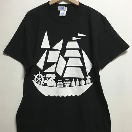 コアラ船プリントTシャツ  (black)