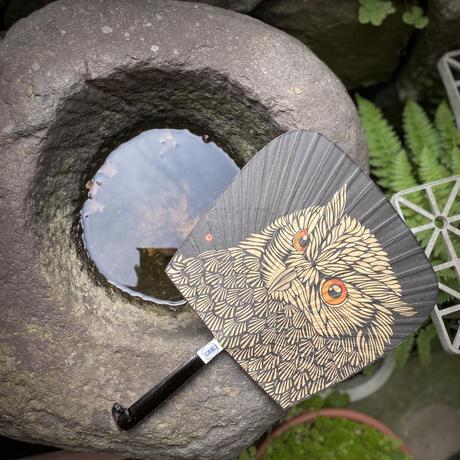 仙扇 フクロウ 切り絵風