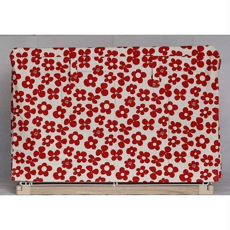 Cocoheart ケージカバー日本製(縫製・帆布/綿100%)(横幅100cmX奥行き70cmX高さ60cm) (1段ケージ用 Aタイプ, フラワーレッド)