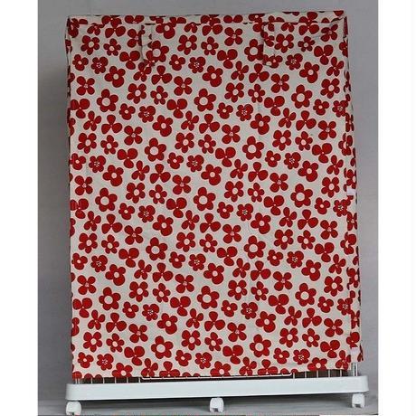 Cocoheart ケージカバー日本製(縫製・帆布/綿100%)(横幅85cmX奥行き60cmX高さ110cm) (2段ケージ用 Aタイプ, フラワーレッド)