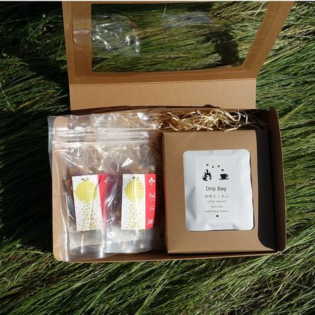 ティータイムセット (ドライフルーツ2個+ドリップコーヒー3袋)