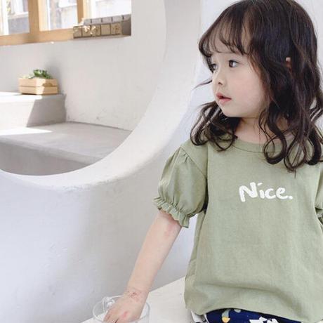【80-100cm】nice. パフスリーブTシャツ