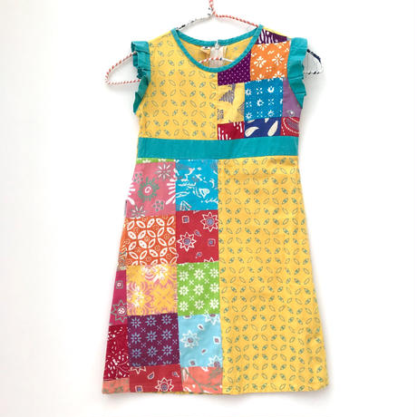 【vintage約110-120cm】patchwork onepiece