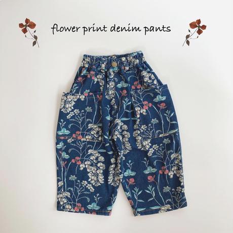 【90-130㎝】flower print denim