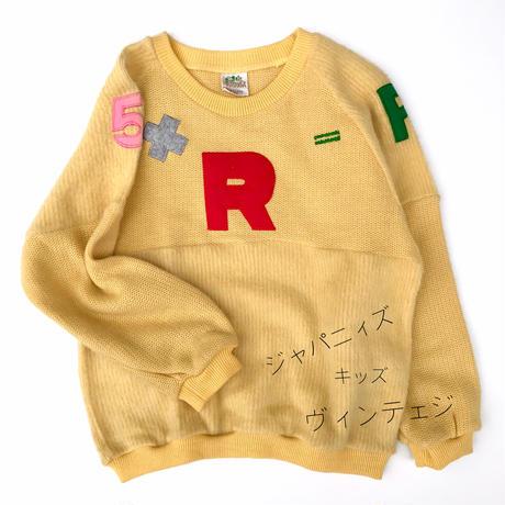 【vintage130cm】80'sイエローセーター