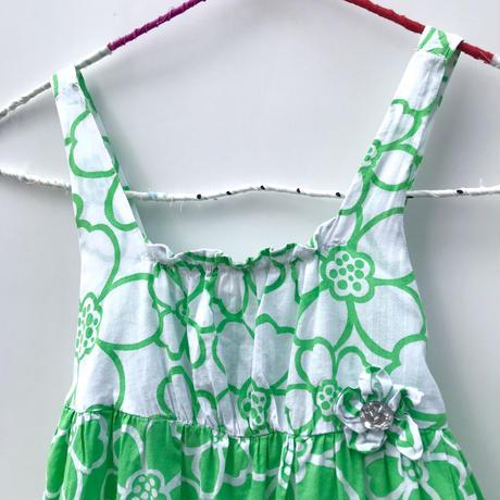 【vintage122cm】green flower onepiece